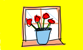 sketch 2645 Flowers in window
