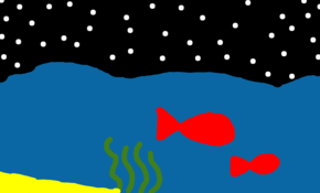 sketch #59931 Fishes in the ocean at night.