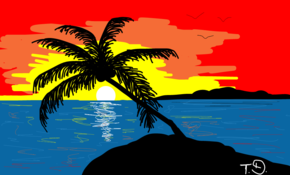 sketch #13074 Palme, Urlaub, Palm, Holiday, Sonne, Sun