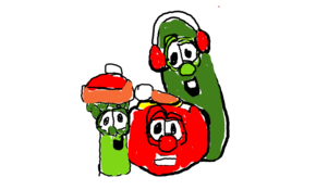 sketch #26164 bob the tomato Larry the Cucumber and Junior asparagus best buddies