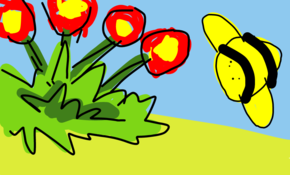 sketch 2646 Buzzy bee on flowers