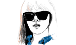 sketch #2699 Girl in shades  Ashok Kumar Chaturvedi