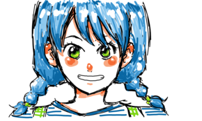 sketch 2959 manga girl blue hair